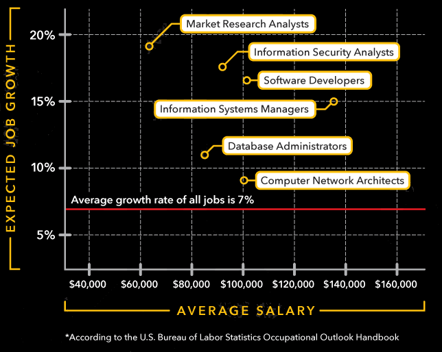 Infographic highlighting the high growth rate and high salaries for jobs in the technology field.